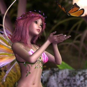 A pretty red-haired fairy girl holds her hands out for a butterfly to land on